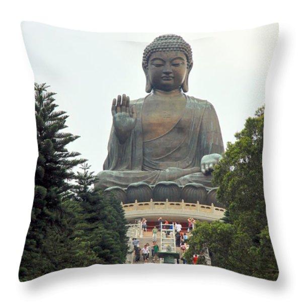 Tian Tan Buddha Throw Pillow by Valentino Visentini
