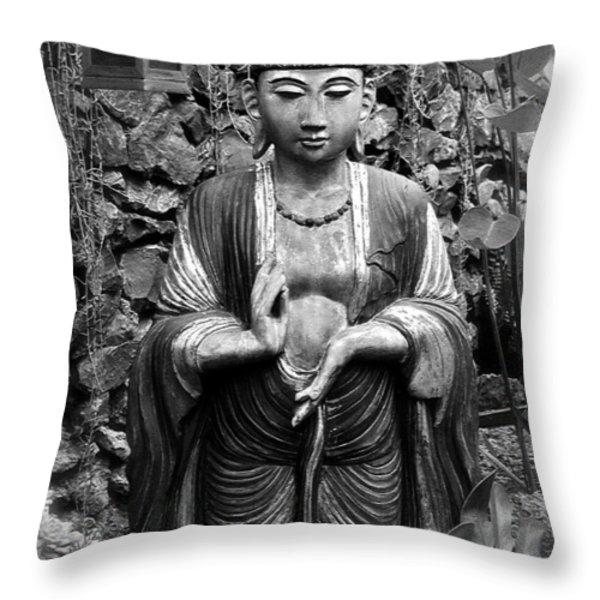 Tibetan Buddha Throw Pillow by Karon Melillo DeVega