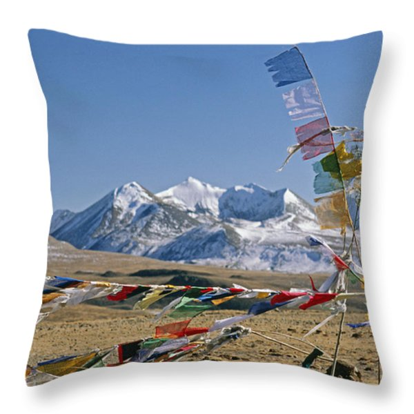 Tibetan Buddhist Prayer Flags Atop Pass Throw Pillow by Gordon Wiltsie