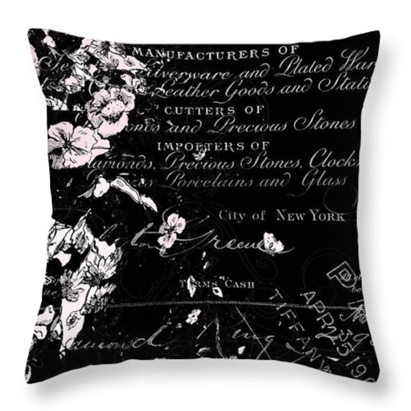 Tiffany Vintage Calligraphy Print Throw Pillow by AdSpice Studios