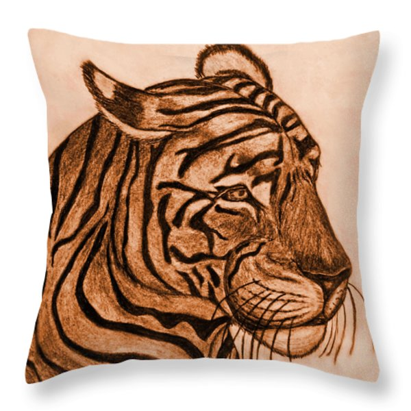 Tiger IIi Throw Pillow by Debbie Portwood