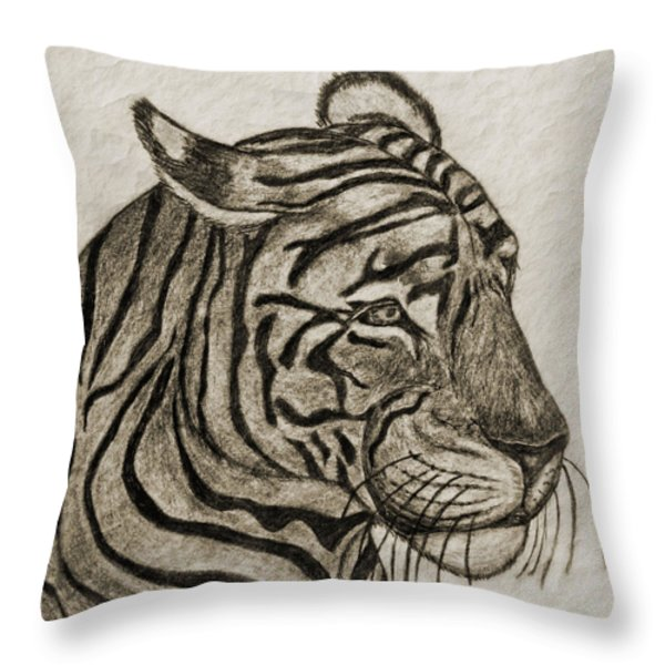 Tiger Iv Throw Pillow by Debbie Portwood