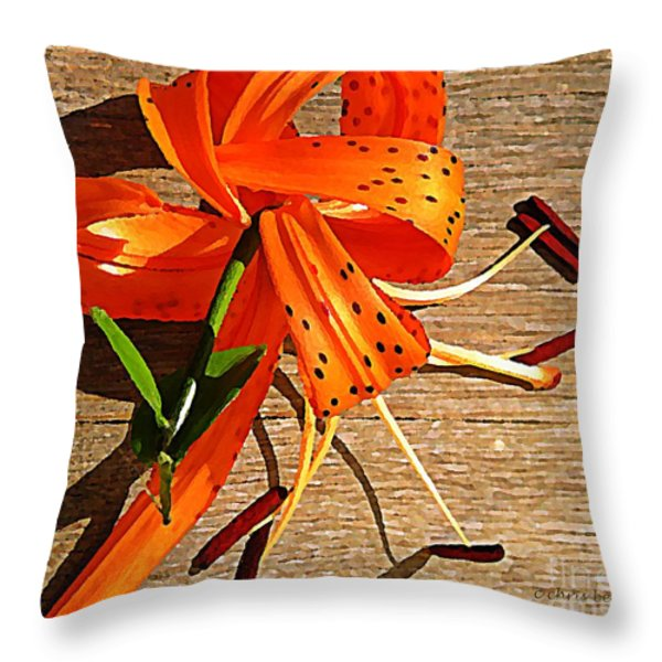 Tiger Lily with Watercolor  Throw Pillow by Chris Berry