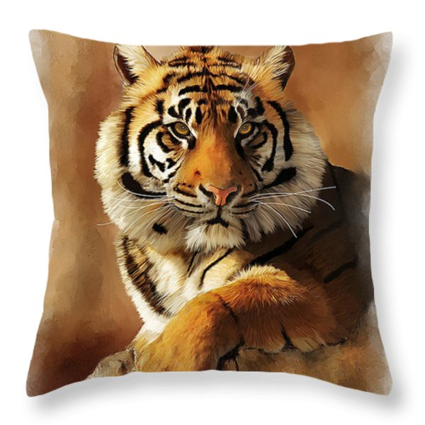 Tiger Portrait Throw Pillow by Michael Greenaway