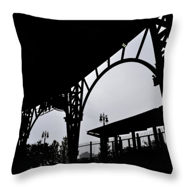 Tiger Stadium Silhouette Throw Pillow by Michelle Calkins