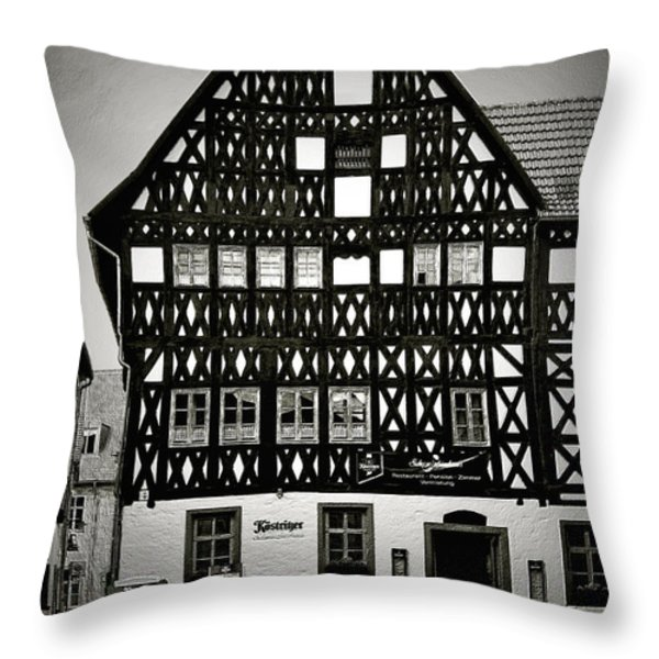 Timber-frame house Weimar Throw Pillow by Christine Till