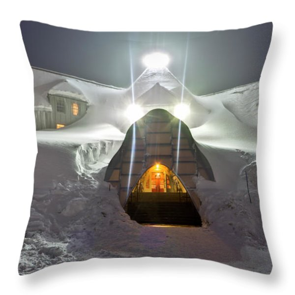 Timberline Lodge Entry Mt Hood Snowdrifts Throw Pillow by Dustin K Ryan