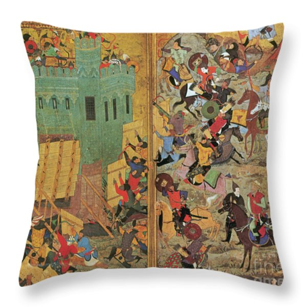 Timur And The Siege Of Smyrna 1402 Throw Pillow by Photo Researchers
