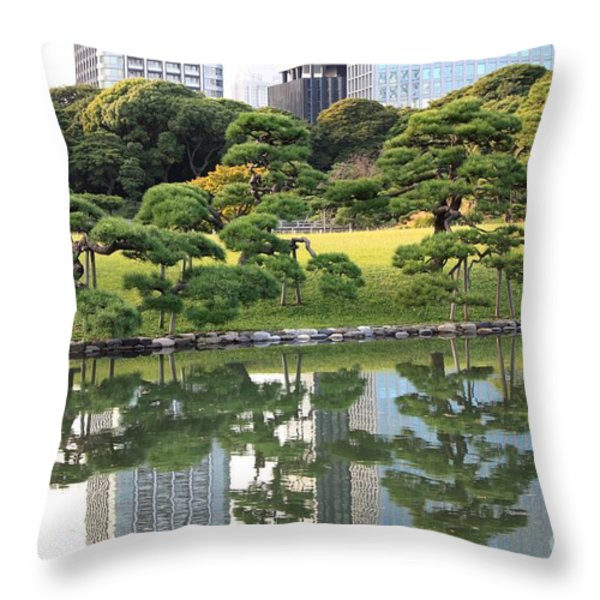 Tokyo Trees Reflection Throw Pillow by Carol Groenen