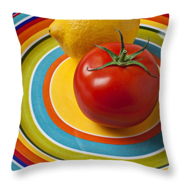 Tomato And Lemon  Throw Pillow by Garry Gay