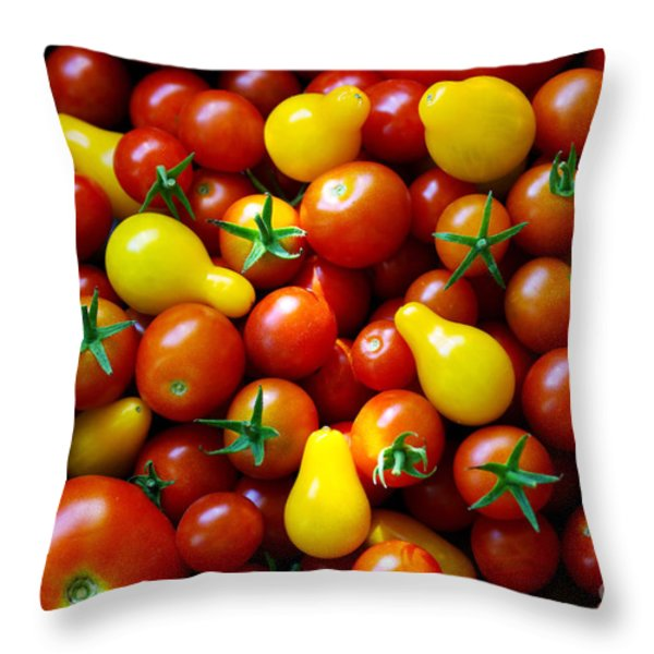 Tomatoes Background Throw Pillow by Carlos Caetano