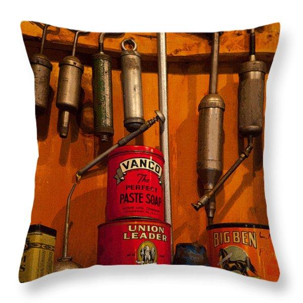 Tool Shop Throw Pillow by Karol  Livote