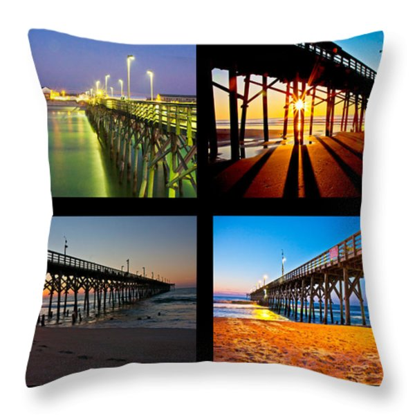 Topsail Piers at Sunrise Throw Pillow by Betsy A  Cutler