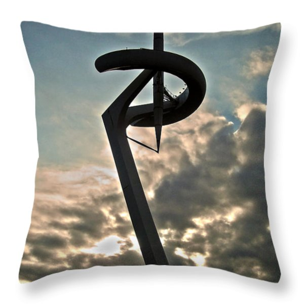 Torre de Calatrava - Barcelona Throw Pillow by Juergen Weiss