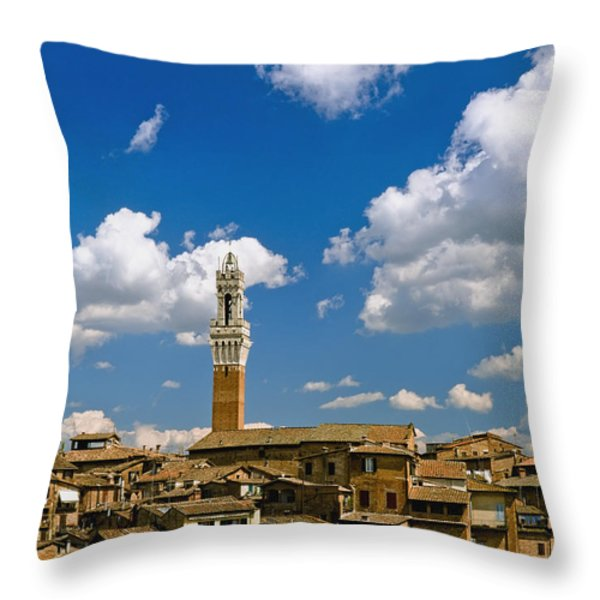 Torre De Mangia And Siena Skyline Throw Pillow by Axiom Photographic