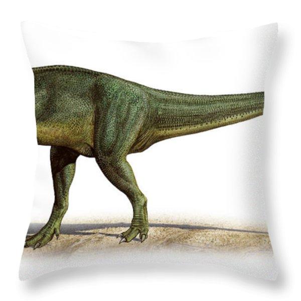Torvosaurus Tanneri, A Prehistoric Era Throw Pillow by Sergey Krasovskiy