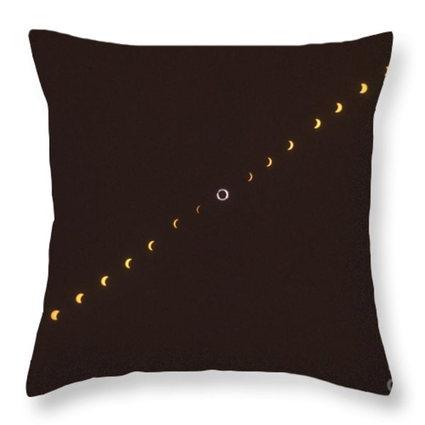 Total Solar Eclipse Sequence Throw Pillow by Science Source