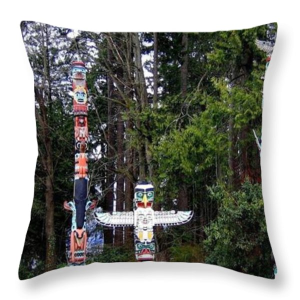 Totem Poles Throw Pillow by Will Borden