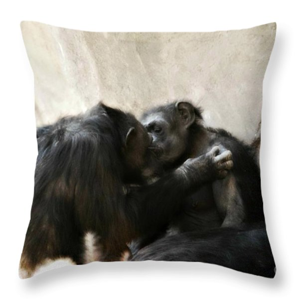 Touching Moment Gorillas Kissing Throw Pillow by Peggy  Franz