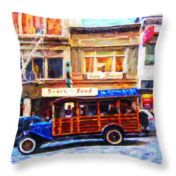 Touring The Streets of San Francisco Throw Pillow by Wingsdomain Art and Photography