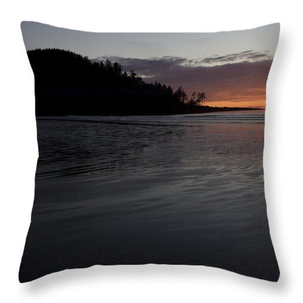 Tow Hill And North Beach At Sunset Throw Pillow by Taylor S. Kennedy