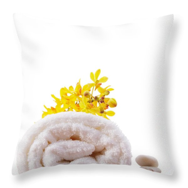 towel roll Throw Pillow by ATIKETTA SANGASAENG