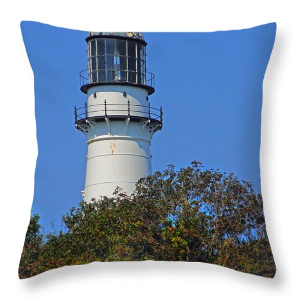 Tower Of East Light Of Two Lights Throw Pillow by Nancy Griswold