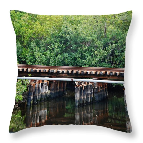 Tracks On The River Throw Pillow by Rob Hans