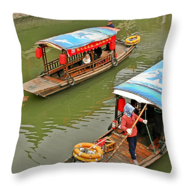 Traffic in Qibao - Shanghai's local ancient water town Throw Pillow by Christine Till