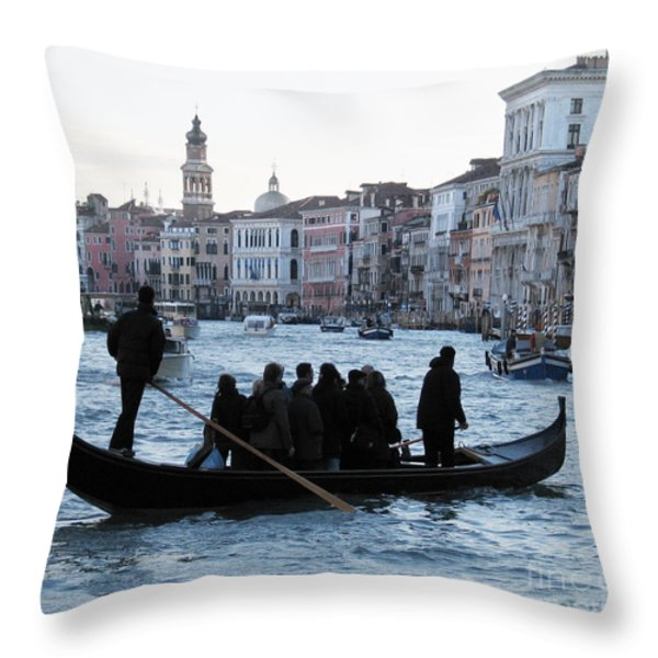 Traghetto . Gran Canal. Venice Throw Pillow by BERNARD JAUBERT