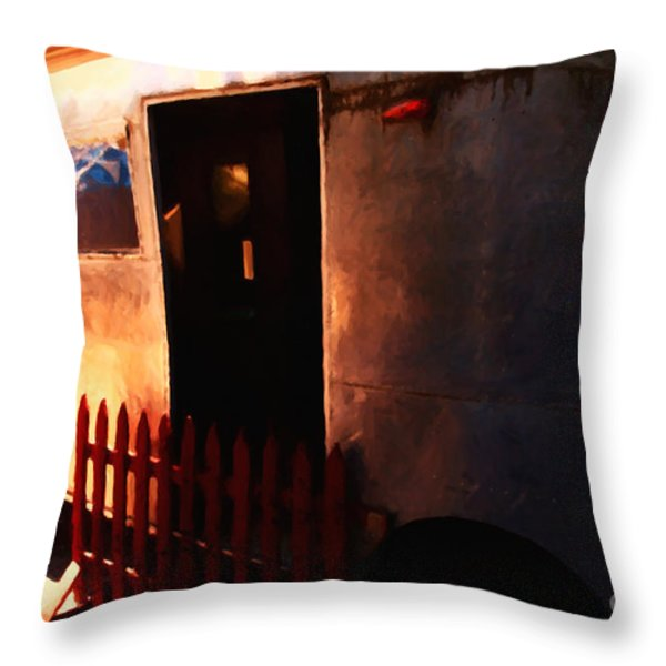 Trailer Park - Painterly - 5d16585 Throw Pillow by Wingsdomain Art and Photography