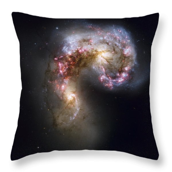 Trailing Streamers Of Gas And Stars Throw Pillow by ESA and nASA