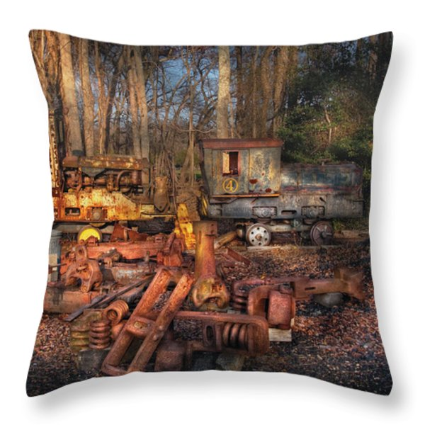 Train - Yard - Do it yourself kit Throw Pillow by Mike Savad