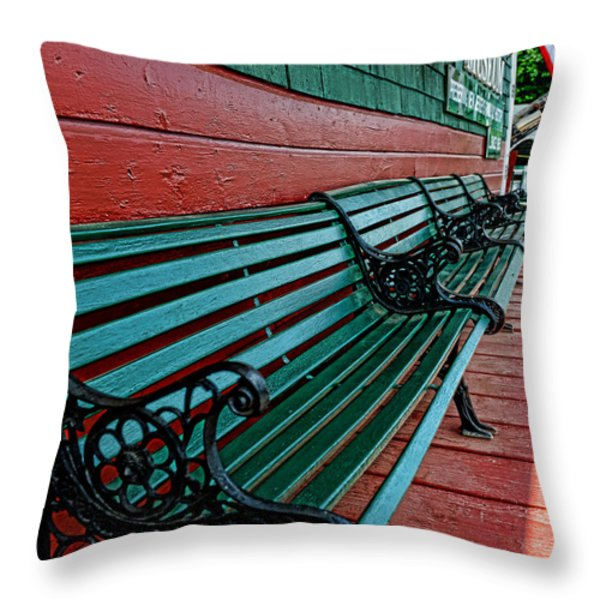 Train Station waiting area Throw Pillow by Paul Ward