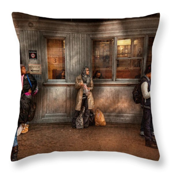 Train - Station - Waiting for the next train Throw Pillow by Mike Savad