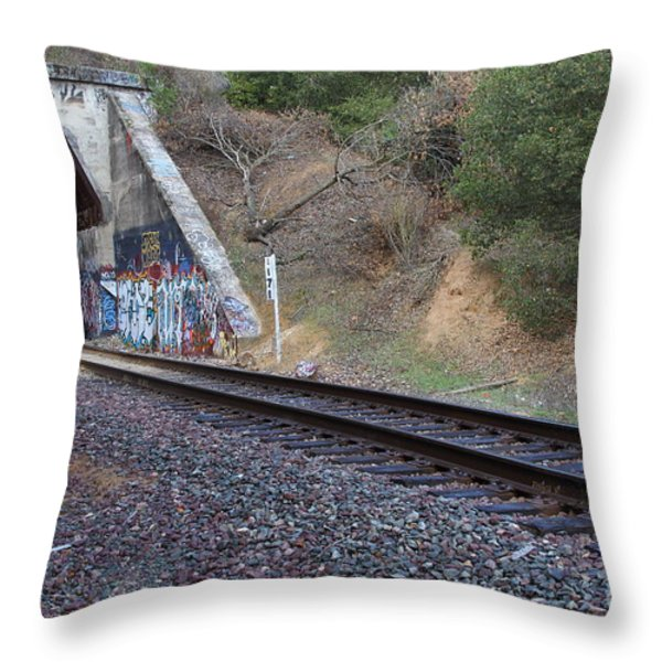 Train Tunnel At The Muir Trestle in Martinez California . 7D10228 Throw Pillow by Wingsdomain Art and Photography