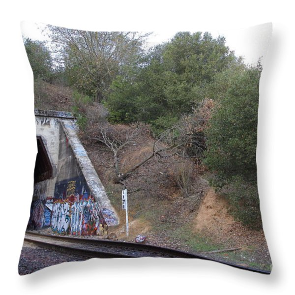Train Tunnel At The Muir Trestle In Martinez California . 7d10229 Throw Pillow by Wingsdomain Art and Photography