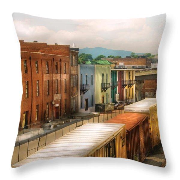 Train - Yard - Train Town Throw Pillow by Mike Savad