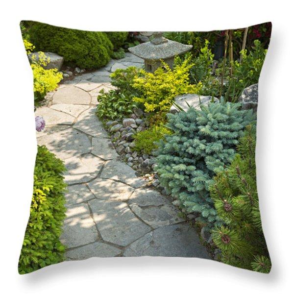 Tranquil garden  Throw Pillow by Elena Elisseeva