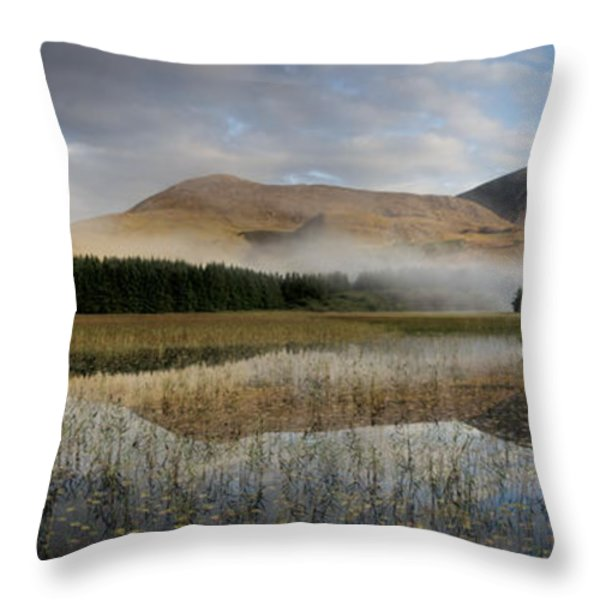 Tranquil Waters And Morning Mist On Red Throw Pillow by Jim Richardson