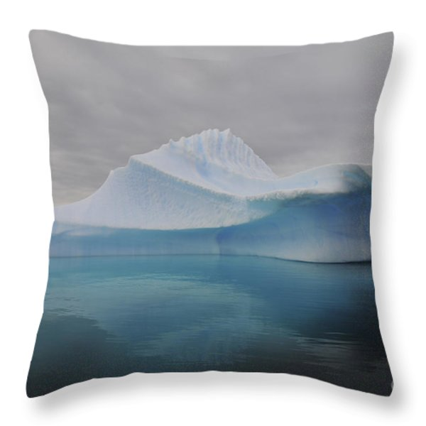 Translucent Blue Iceberg Reflection Throw Pillow by Mathieu Meur