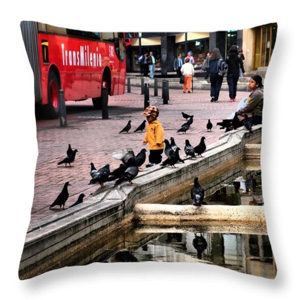 Transmilenio Throw Pillow by Skip Hunt