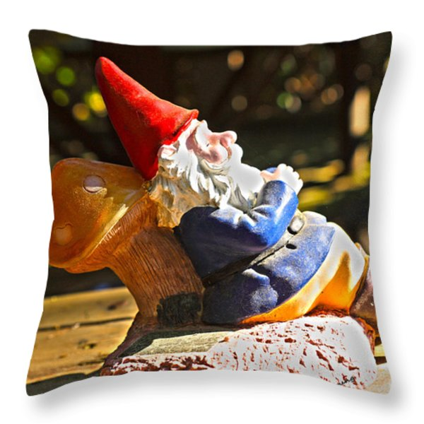 Travel Gnome Sunning Throw Pillow by Cheryl Young