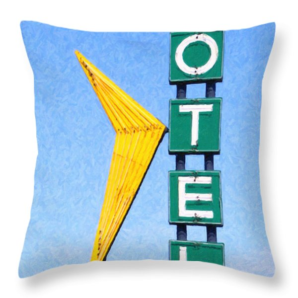 Travelers Motel Tulsa Oklahoma Throw Pillow by Wingsdomain Art and Photography