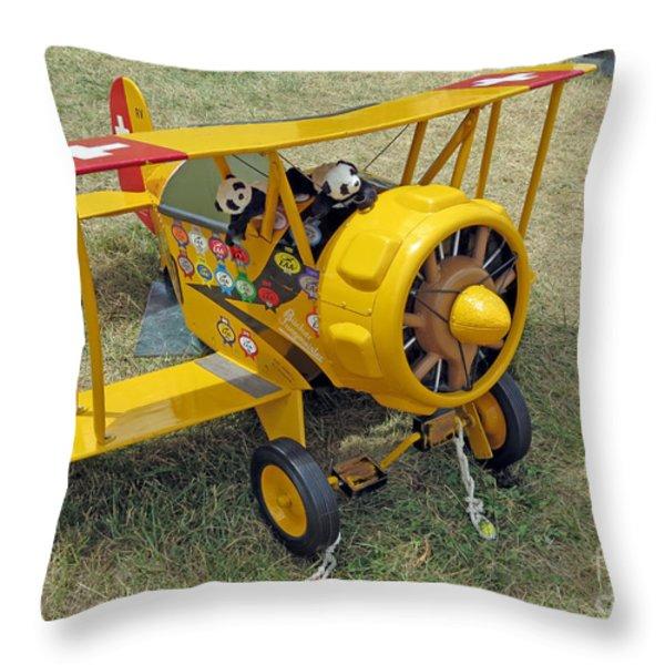 Travelling Pandas. Ready To Take Off. Oshkosh 2012 Throw Pillow by Ausra Paulauskaite