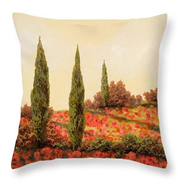 tre case tra i papaveri Throw Pillow by Guido Borelli