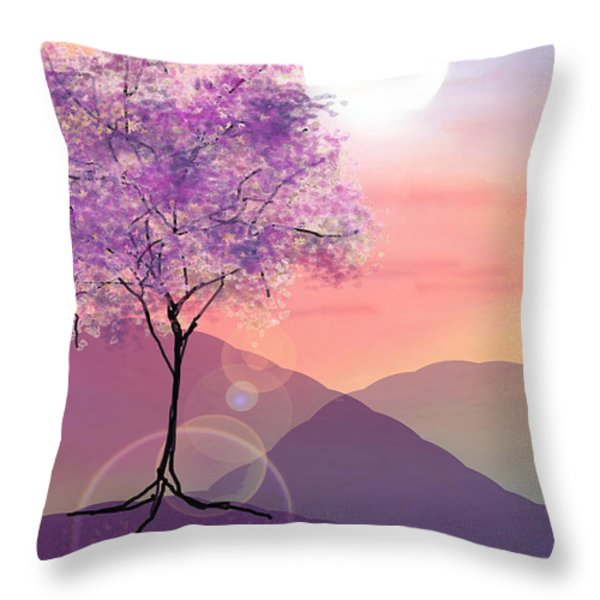 Tree On A Hill Throw Pillow by Ginny Schmidt