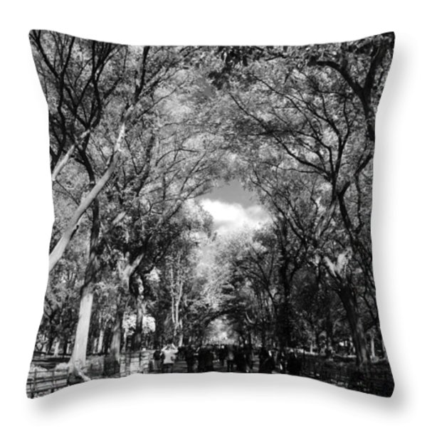 TREES on the MALL in CENTRAL PARK in BLACK AND WHITE Throw Pillow by ROB HANS