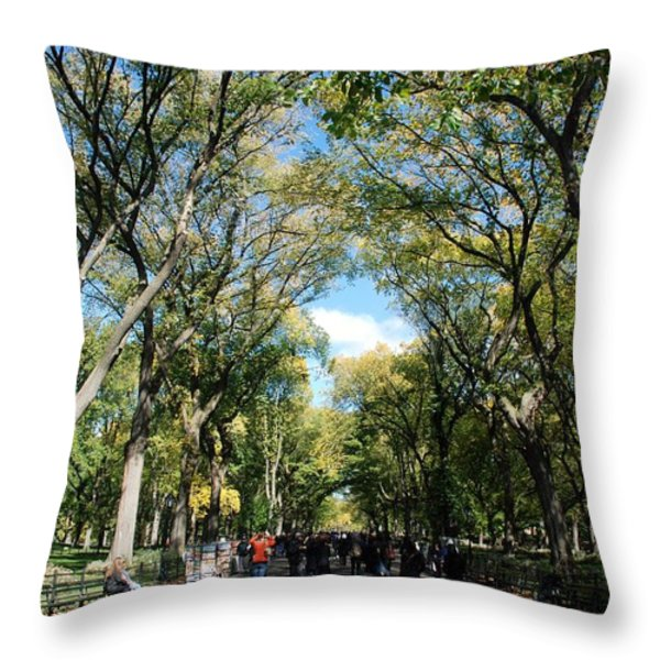 TREES on the MALL in CENTRAL PARK Throw Pillow by ROB HANS