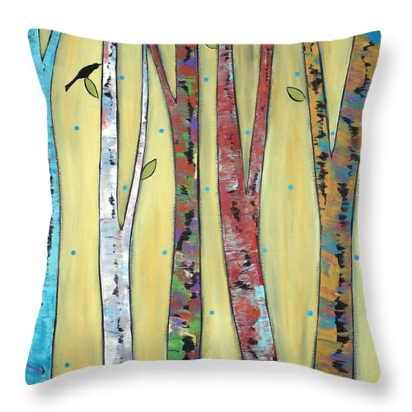 Trees On Yellow Throw Pillow by Karla Gerard